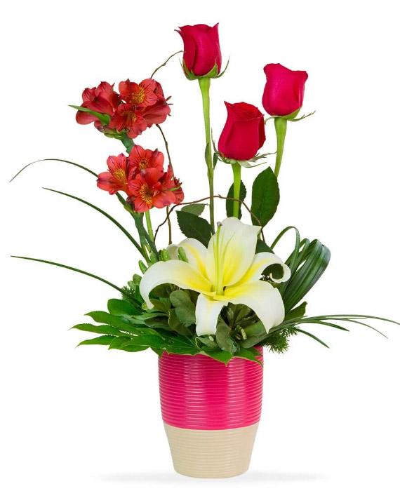 Arreglo de 3 rosas lilium y 2 buquet de rosas rojas en loza ...